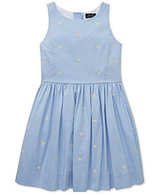 Polo Ralph Lauren Big Girls Daisy Fit & Flare Cotton Dress