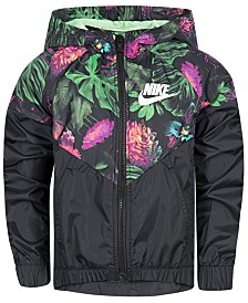 Nike Little Girls Glow Botanical-Print Zip-Up Jacket