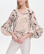 4db27bc4a2a Calvin Klein Floral-Print Ruffle-Sleeve Blouse
