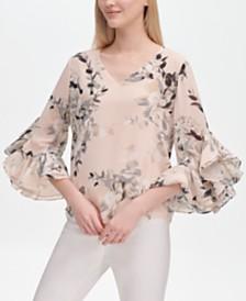 6c9e696d1eb Calvin Klein Floral-Print Ruffle-Sleeve Blouse