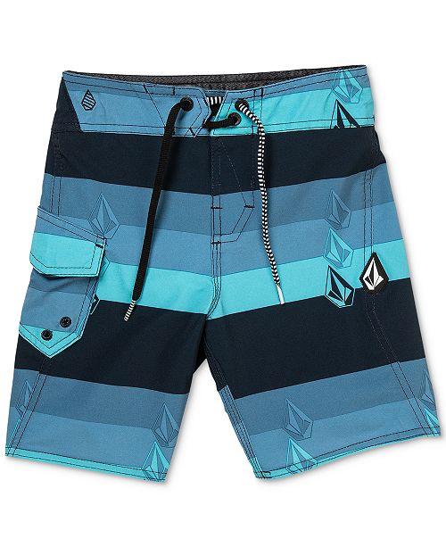 75dbac7d03 Volcom Boys Lido Liney Stretch Stripe Logo Board Shorts & Reviews ...