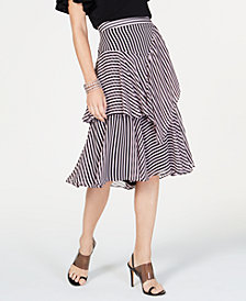 I.N.C. Striped Ruffled Midi Skirt, Created for Macy's
