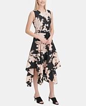 7cec53cb45 Calvin Klein Floral Handkerchief-Hem Midi Dress