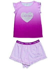 Calvin Klein Big Girls 2-Pc. Heart Pajama Set