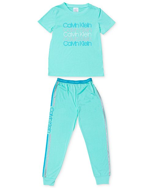 Calvin Klein Big Girls 2-Pc. Logo Pajama Set