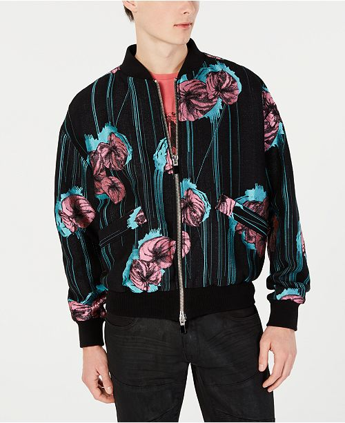 Just Cavalli Men's Floral Embroidered Bomber Jacket
