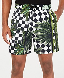 Men's Regular-Fit Check Garden-Print Shorts