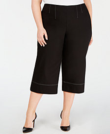 I.N.C. Plus Size Cropped Wide-Leg Pants, Created for Macy's