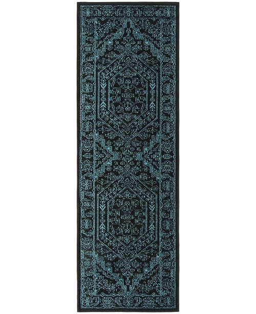 "Safavieh Adirondack Black and Teal 2'6"" x 8' Runner Area Rug"