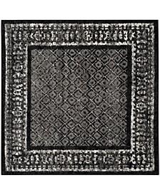 Adirondack Black and Silver 6' x 6' Square Area Rug
