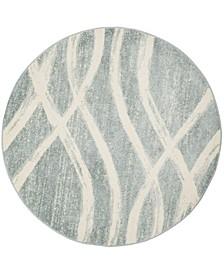 Adirondack Cream and Slate 6' x 6' Round Area Rug