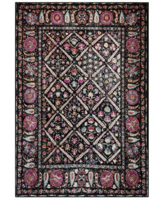 Adirondack Black and Fuchsia 6' x 9' Area Rug