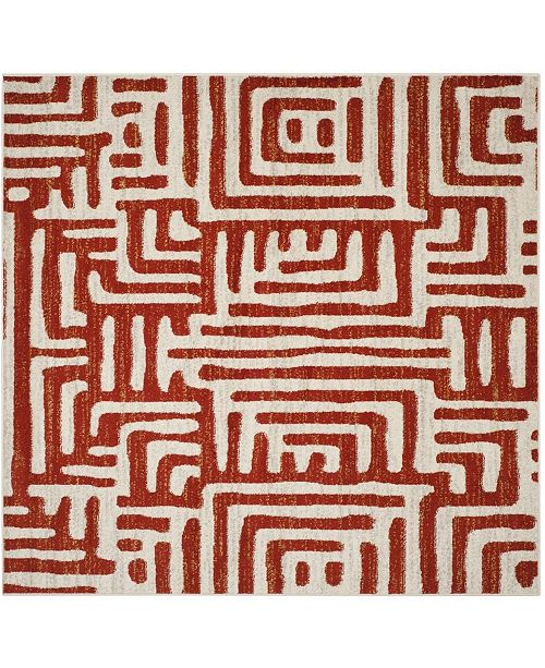 """Safavieh Amsterdam Ivory and Terracotta 6'7"""" x 6'7"""" Square Area Rug"""