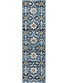 "Amsterdam Blue and Creme 2'3"" x 8' Runner Area Rug"