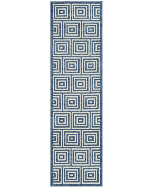 "Safavieh Cottage Cream and Light Blue 2'3"" x 8' Runner Area Rug"