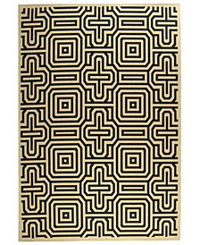 "Safavieh Courtyard Sand and Black 6'7"" x 9'6"" Sisal Weave Area Rug"