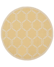 "Safavieh Courtyard Yellow and Beige 5'3"" x 5'3"" Sisal Weave Round Area Rug"