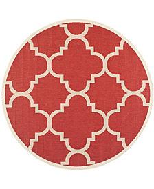 "Safavieh Courtyard Red 6'7"" x 6'7"" Sisal Weave Round Area Rug"
