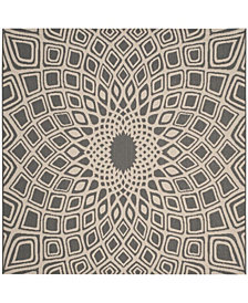 """Safavieh Courtyard Anthracite and Beige 6'7"""" x 6'7"""" Sisal Weave Square Area Rug"""
