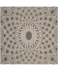 "Safavieh Courtyard Anthracite and Beige 6'7"" x 6'7"" Sisal Weave Square Area Rug"