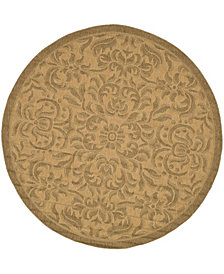 "Safavieh Courtyard Natural and Gold 6'7"" x 6'7"" Round Area Rug"