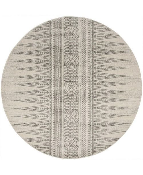 "Safavieh Evoke Ivory and Silver 6'7"" x 6'7"" Round Area Rug"