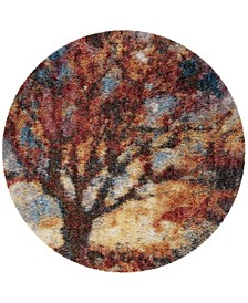 """Gypsy Rust and Blue 6'7"""" x 6'7"""" Round Area Rug"""