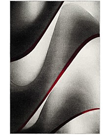 """Hollywood Gray and Red 5'3"""" x 7'6"""" Area Rug"""