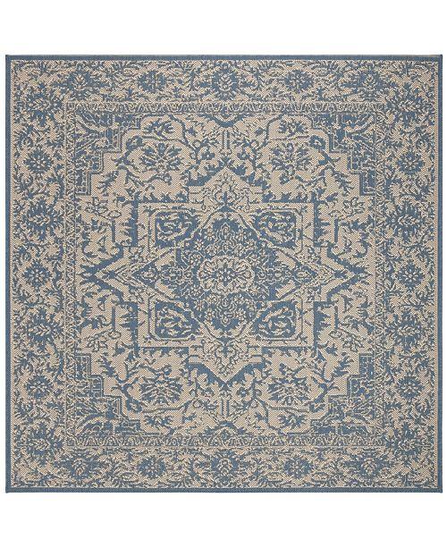 """Safavieh Linden Cream and Blue 6'7"""" x 6'7"""" Square Area Rug"""