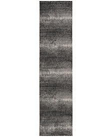 Lurex Black and Ivory 2' x 8' Runner Area Rug