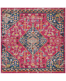 "Safavieh Madison Pink and Turquoise 6'7"" x 6'7"" Square Area Rug"
