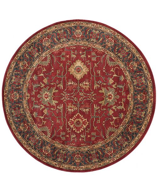 "Safavieh Mahal Red and Navy 6'7"" x 6'7"" Round Area Rug"