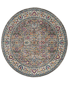 "Safavieh Merlot Gray and Multi 6'7"" x 6'7"" Round Area Rug"