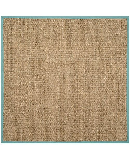 Safavieh Natural Fiber Natural and Teal 6' x 6' Sisal Weave Square Area Rug