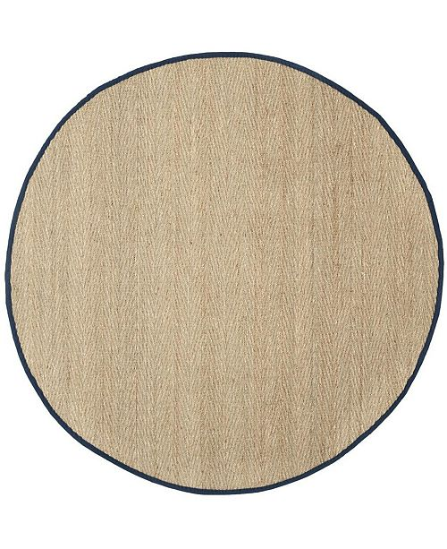 Safavieh Natural Fiber Natural and Blue 6' x 6' Sisal Weave Round Area Rug