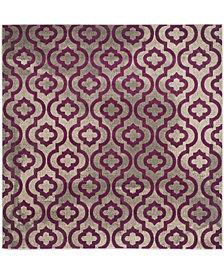 """Safavieh Porcello Light Gray and Purple 6'7"""" x 6'7"""" Square Area Rug"""