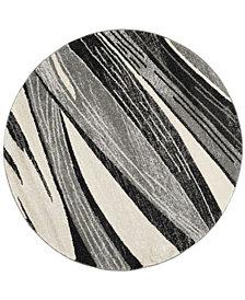 Safavieh Retro Light Gray and Ivory 6' x 6' Round Area Rug