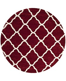 Hudson Red and Ivory 7' x 7' Round Area Rug