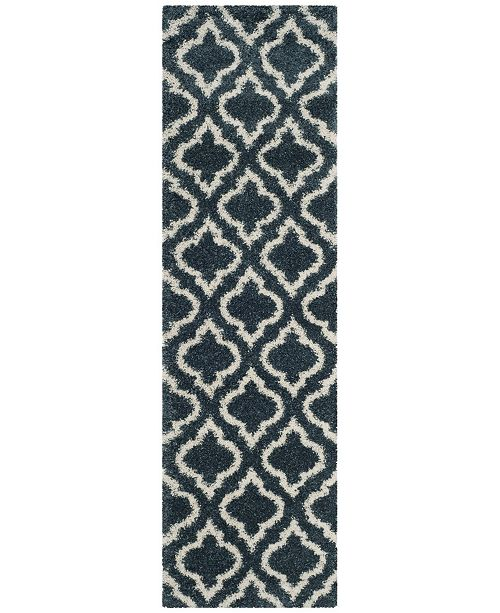 "Safavieh Hudson Slate Blue and Ivory 2'3"" x 8' Runner Area Rug"