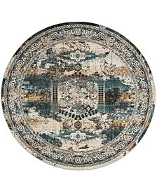 "Safavieh Baldwin Ivory and Teal 6'7"" x 6'7"" Round Area Rug"