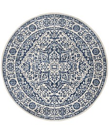 """Brentwood Navy and Light Gray 6'7"""" x 6'7"""" Round Rug"""
