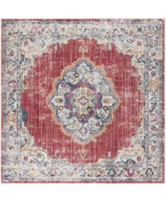 Bristol Rose and Light Gray 7' x 7' Square Area Rug
