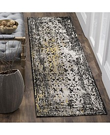 """Classic Vintage Black and Silver 2'3"""" x 8' Runner Area Rug"""