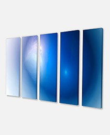 "Designart Mysterious Blue Fractal Texture Wall Art Canvas - 60"" X 28"" - 5 Panels"