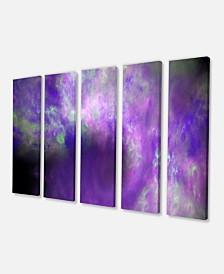 "Designart Perfect Light Purple Starry Sky Canvas Art Print - 60"" X 28"" - 5 Panels"
