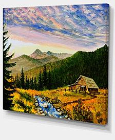 """Designart Sunset In Mountains Landscape Art Wall Art Print - 40"""" X 30"""""""