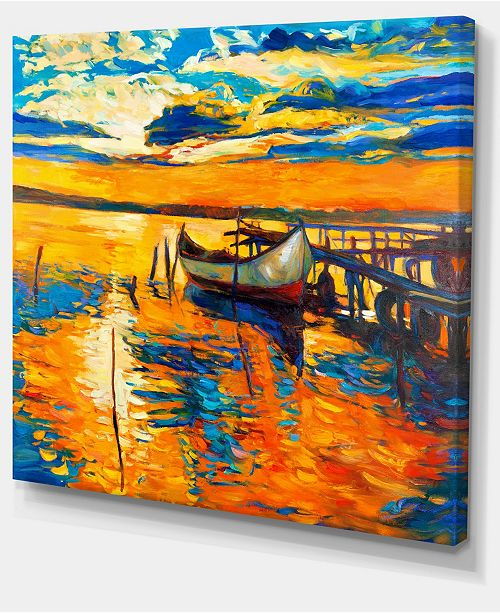 "Design Art Designart Boat And Jetty At Sunset Landscape Art Print Canvas - 40"" X 30"""