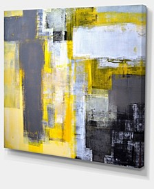 "Designart Grey And Yellow Blur Abstract Abstract Canvas Art Print - 40"" X 30"""