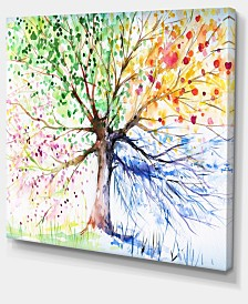 "Designart Four Seasons Tree Floral Art Canvas Print - 40"" X 30"""