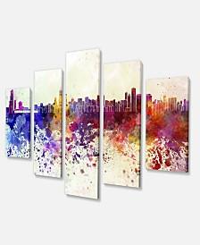 "Designart Chicago Skyline Cityscape Canvas Artwork Print - 60"" X 32"" - 5 Panels"